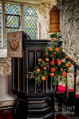 Pulpit And Flowers Print by Adrian Evans
