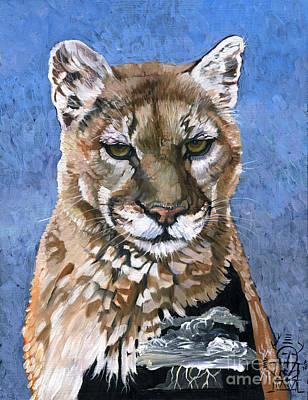Medicine Mixed Media - Puma - The Hunter by J W Baker