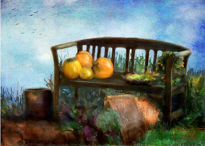 Autumn Scenes Mixed Media - Pumpkin Harvest Respite by Colleen Taylor