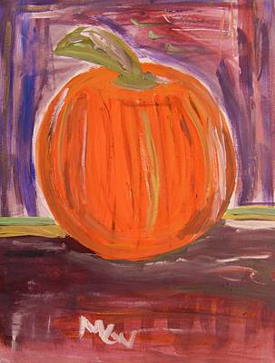 Primitive Drawing - Pumpkin In The Barn by Mary Carol Williams