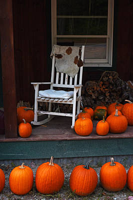 Rocking Chairs Digital Art - Pumpkin Patch Little Field Farm New Hampshire Rocking Chair by Toby McGuire