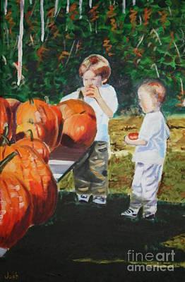 Picking Pumpkins Painting - Pumpkin Picking by Joshua Chase