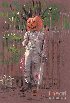 Pumpkin Drawing - Pumpkin Scarecrow by Donald Maier