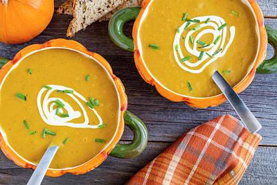 Pumpkin Soup In Pumpkin Bowls Print by Teri Virbickis