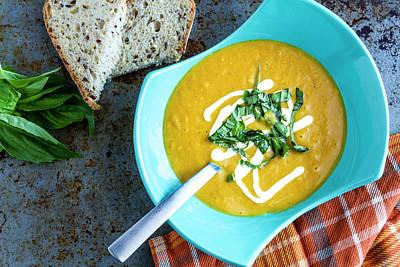 Pumpkin Squash Soup In Blue Print by Teri Virbickis