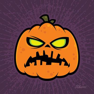 Halloween Drawing - Pumpkin Zombie by John Schwegel