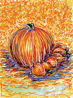 Piglets Drawing - Pumpkinlets by Robert Yaeger