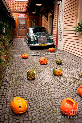 Horror Cars Photograph - pumpkins and green vintage Mercedes by Arletta Cwalina