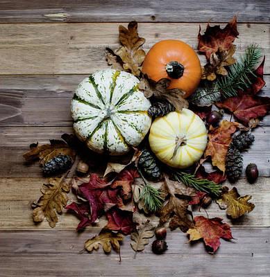 Pumpkins And Leaves Print by Rebecca Cozart
