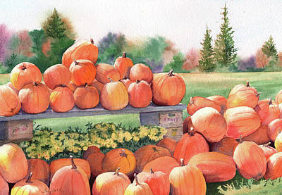 Mums Painting - Pumpkins For Sale by Vikki Bouffard