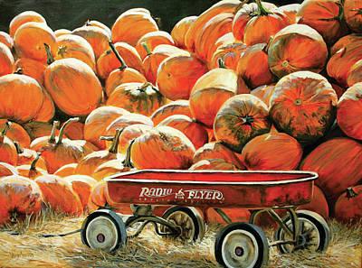 Radio Flyer Wagon Painting - Pumpkins by Venetka Arsenov