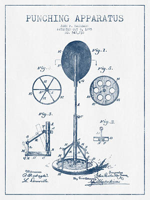 Punching Drawing - Punching Apparatus Patent Drawing From 1895 -  Blue Ink by Aged Pixel