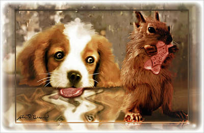 Pup And Squirrel Print by John Breen
