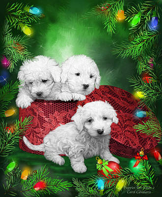 Puppies For Christmas Print by Carol Cavalaris