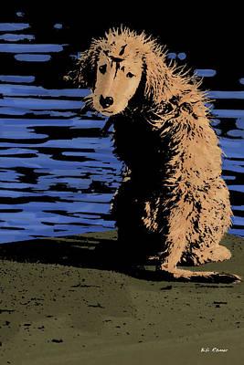 Golden Retriever Pop Art Photograph - Puppy On Pier Pop Art by Bibi Romer