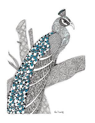 Purdy Peacock Print by Paula Dickerhoff