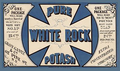 Labeling Mixed Media - Pure White Rock Potash Vintage Product Label by Vintage