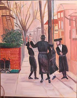 Purim Painting - Purim In Boro Park by Carla Goodstein