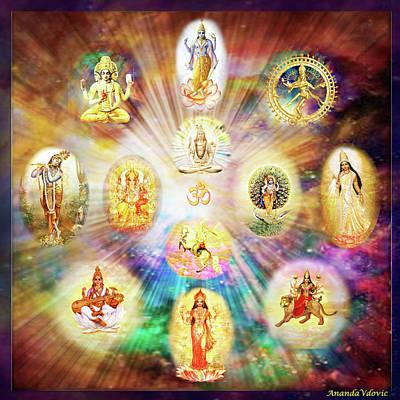 Horse Mixed Media - Purnamida Purnamidam - One Divine Source For All Gods And Goddesses by Ananda Vdovic