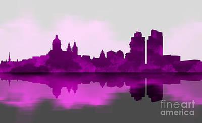 Landscapes Digital Art - Purple Amsterdam by Prar Kulasekara