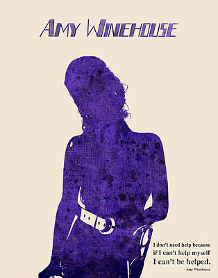 Musicos Drawing - Purple Amy by Pablo Franchi