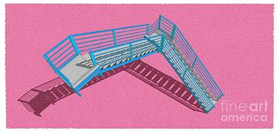 Santa Monica Drawing - Purple And Cyan Stair 32 Architecture For Architects by Pablo Franchi