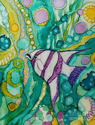 Abstract Using Brilliant Colors Painting - Purple And White Angel Fish by Joan Clear