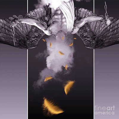 Male Digital Art - Purple  Angel  by Mark Ashkenazi
