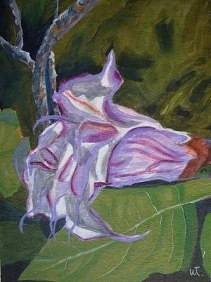 Datura Painting - Purple Angel Trumpet- Datura Plant  by Warren Thompson