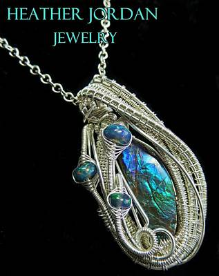 Sterling Silver Jewelry - Purple Blue And Green Ammolite Wire-wrapped Pendant In Sterling Silver With Ethiopian Opals Amltpss3 by Heather Jordan