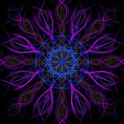 Mandala Photograph - Purple Blue Kaleidoscope Square by Adam Romanowicz