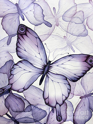 Watercolor Painting - Purple Butterflies by Christina Meeusen