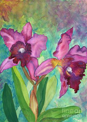 Purple Cattleya Orchid Print by Lisa DeBaets