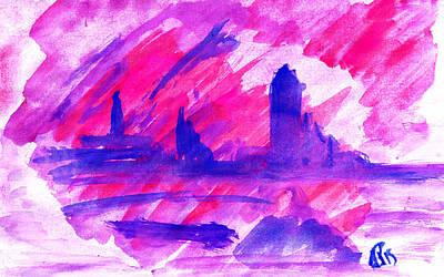 Purple City Thoughts - Water Color - Original  Original by Sir Josef Social Critic - ART