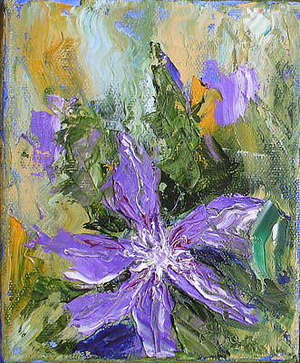 Clematis Painting - Purple Clematis Abstract by Barbara Harper