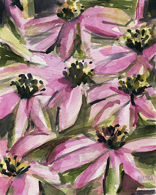 Floral Watercolor Painting - Purple Coneflowers by Beverly Brown Prints