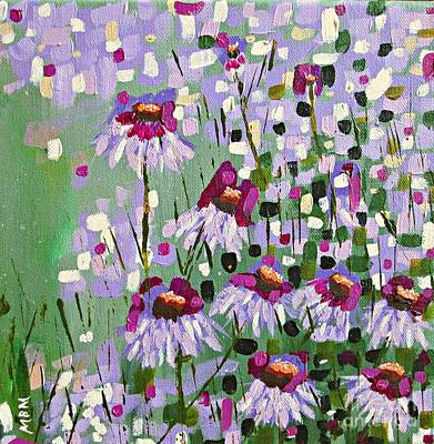 Abstracted Coneflowers Painting - Purple Coneflowers by Mary Mirabal