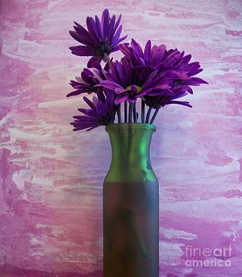 Purple Daisy Bouquet Print by Marsha Heiken