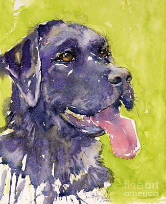 Black Lab Watercolor Painting - Purple Dog by Judith Levins