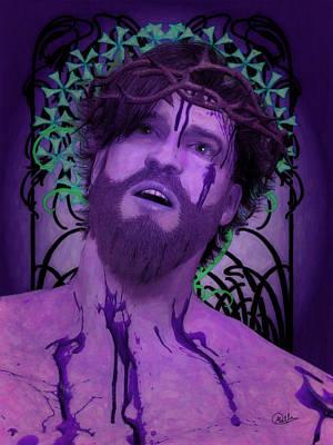 Icon Drawing - Purple Ecce Homo by Joaquin Abella