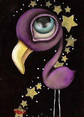 Cartoon Animals Painting - Purple Flamingo by  Abril Andrade Griffith