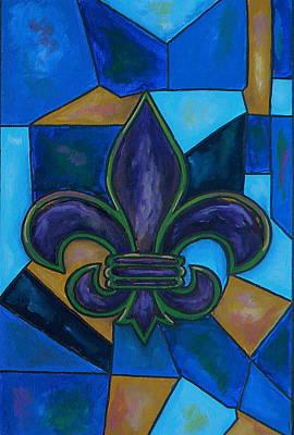 Purple Fleur De Lis Print by Patti Schermerhorn