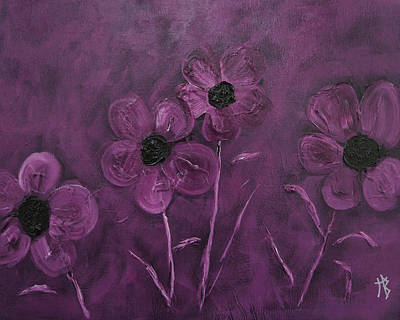 Abstract Painting - Purple Flowers by Natalie Bollinger