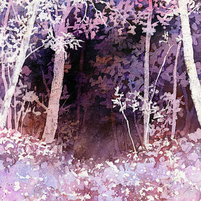 Tall Tree Painting - Purple Forest by Hailey E Herrera