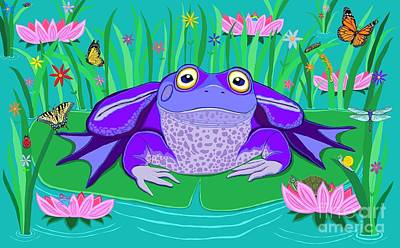 Purple Frog On A Lily Pad Print by Nick Gustafson