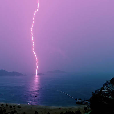 Purple Glow Of Lightning Print by Judi Mowlem