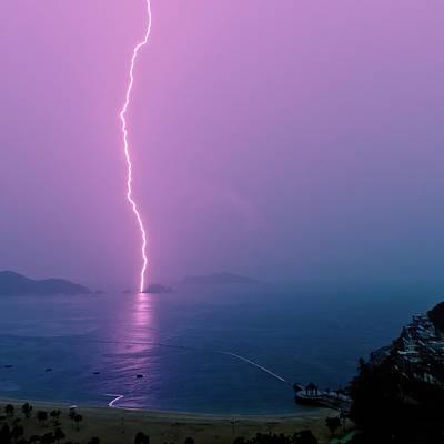 Images Lightning Photograph - Purple Glow Of Lightning by Judi Mowlem