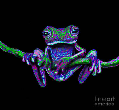 Frogs Mixed Media - Purple Green Ghost Frog by Nick Gustafson