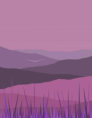 Minimalist Landscape Digital Art - Purple Haze - Purple Hills by Val Arie