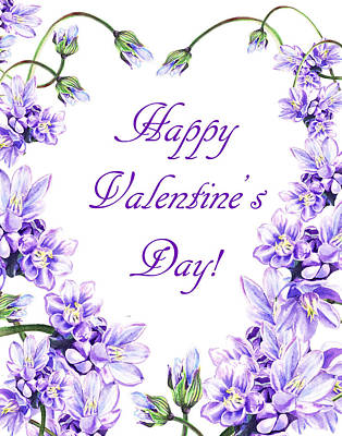 Purple Heart For Valentine Print by Irina Sztukowski